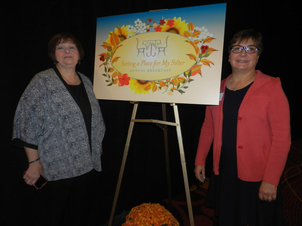 2015 Setting a Place fro My Sister Co-Chairs, Bette Nelson and Rosanne Saunders.