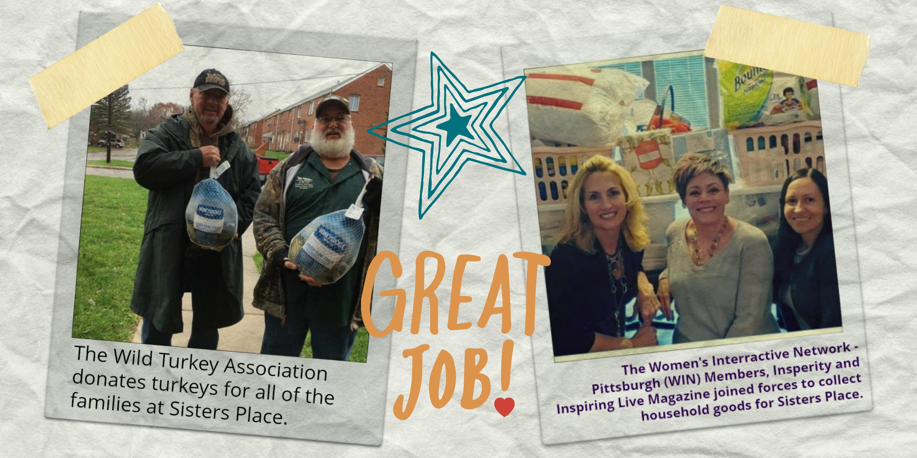 Photo of various volunteer events with a note that says Great Job!