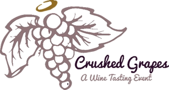 Crushed grapes, a wine tasting event - logo
